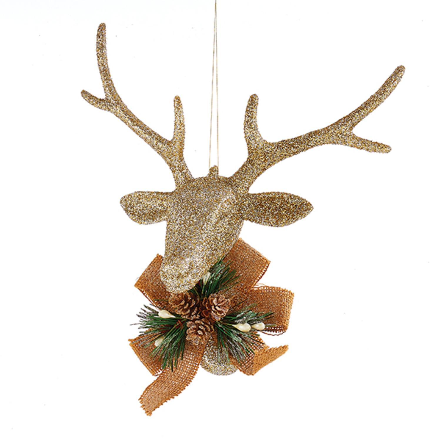 "8"" Country Cabin Champagne Glitter Reindeer Head With Burlap Bow Christmas Ornament"