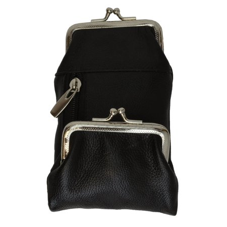 Womens Leather Cigarette and Lighter Case with Twist Clasp in Choice of Colors (Black) ()