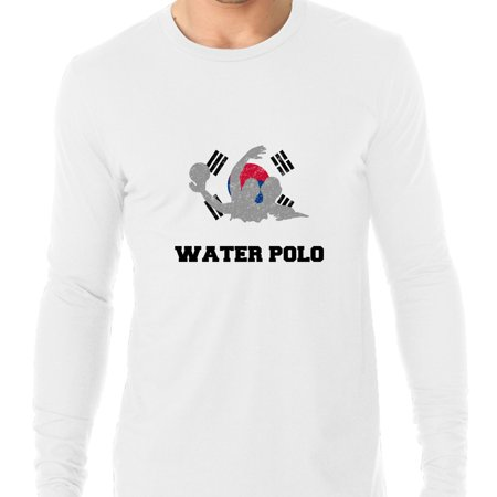 South Korea Olympic - Water Polo - Flag - Silhouette Men's Long Sleeve T-Shirt