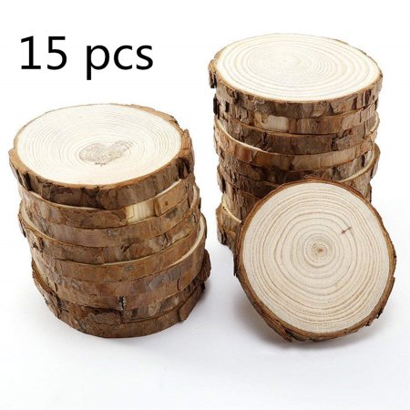 15pcs Wood Slices with Bark for Crafts, 3.5-4 inch Round Wooden Discs DIY Craft Embellishment Wedding - Wood Slice
