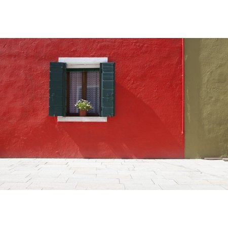 A Flower Pot Sits In A Window With Shutters Open In Building Painted Bright Red Burano Venezia Italy Posterprint