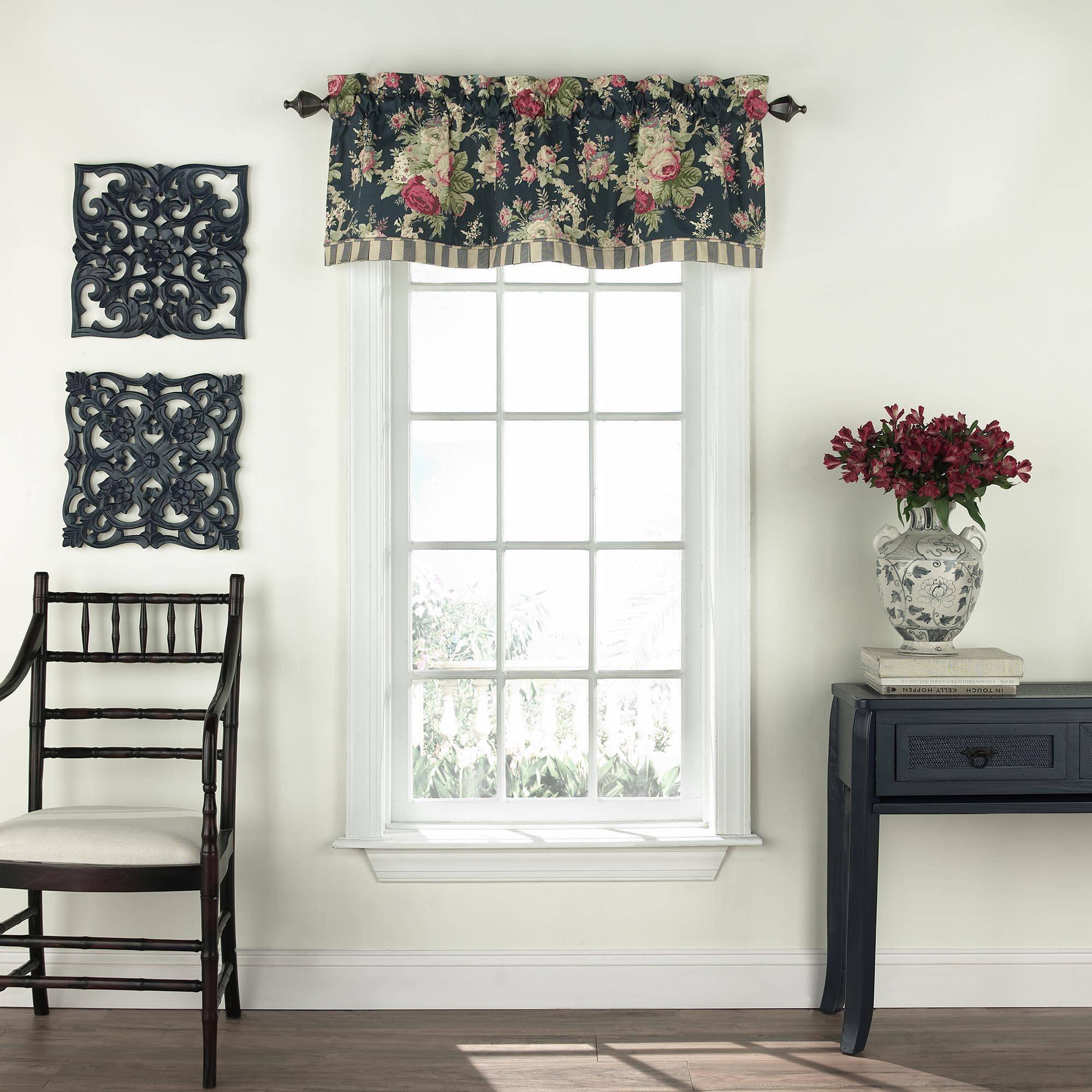 Waverly Sanctuary Rose Floral Valance