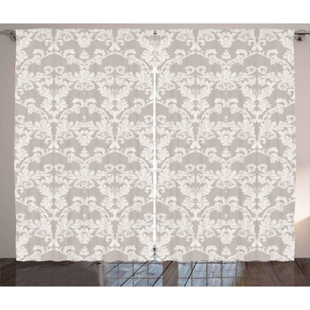 Taupe Curtains 2 Panels Set  Nature Garden Themed Pattern With Damask Imperial Tile Rococo Inspired Stylized  Window Drapes For Living Room Bedroom  108W X 90L Inches  Taupe And White  By Ambesonne