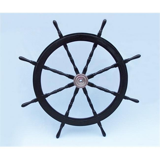 Handcrafted Model Ships SW48CH-Black Deluxe Class Wood and Chrome Pirate Ship Steering Wheel 48 in. Decorative Accent
