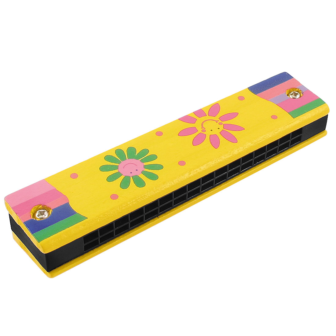 Wooden Harmonica Mouth Organ w Dual Rows 32 Holes Yellow Floral Cartoon Print Educational Toy for Children