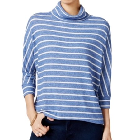 MAISON JULES Womens Blue Striped 3/4 Sleeve Cowl Neck Top  Size: M