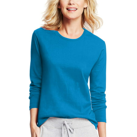 Hanes Women's Long-Sleeve Crewneck (Petit Bateau White T-shirt)