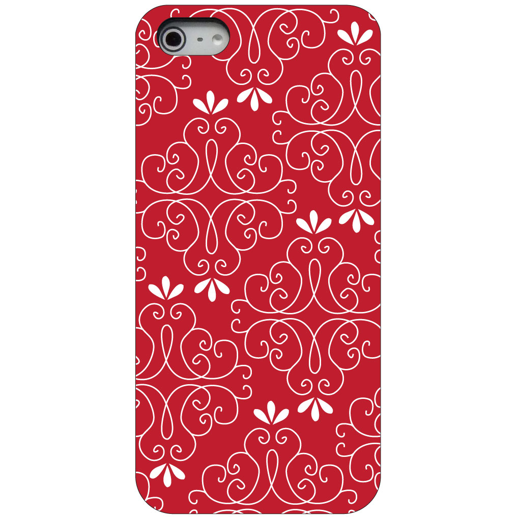 CUSTOM Black Hard Plastic Snap-On Case for Apple iPhone 5 / 5S / SE - Dark Red White Floral
