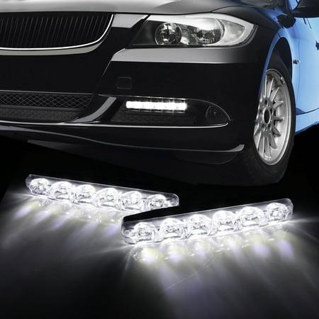 2f5170681 iJDMTOY (2) 6000K Cool White 6-LED Universal Fit LED Daytime Running Lights  For Car - Walmart.com