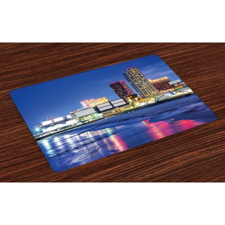 City Placemats Set of 4 Resort Casinos on Shore at Night Atlantic City New Jersey United States, Washable Fabric Place Mats for Dining Room Kitchen Table Decor,Violet Blue Pink Yellow, by Ambesonne - Jersey Shore Dress Up