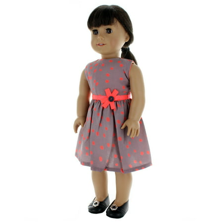 Doll Clothes - Beautiful Gray Dress with Pink Dots Polka Outfit Fits American Girl Doll, My Life Doll and 18 inch dolls