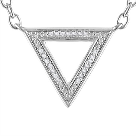 Diamond Triangle Necklace - STERLING SILVER DIAMOND ACCENT TRIANGLE NECKLACE