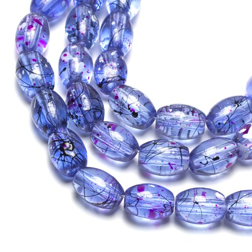 Glass Oval Beads with Splatter, Blue
