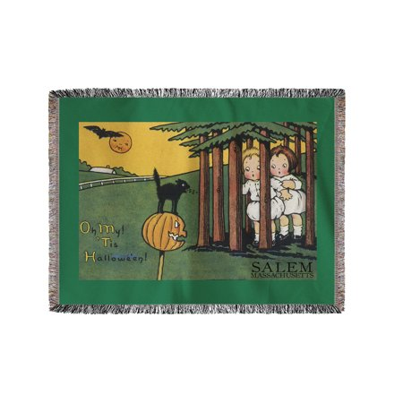 Salem, Massachusetts - Halloween Kids & Black Cat - Vintage Postcard (60x80 Woven Chenille Yarn Blanket) (Vintage Halloween Cat Postcards)