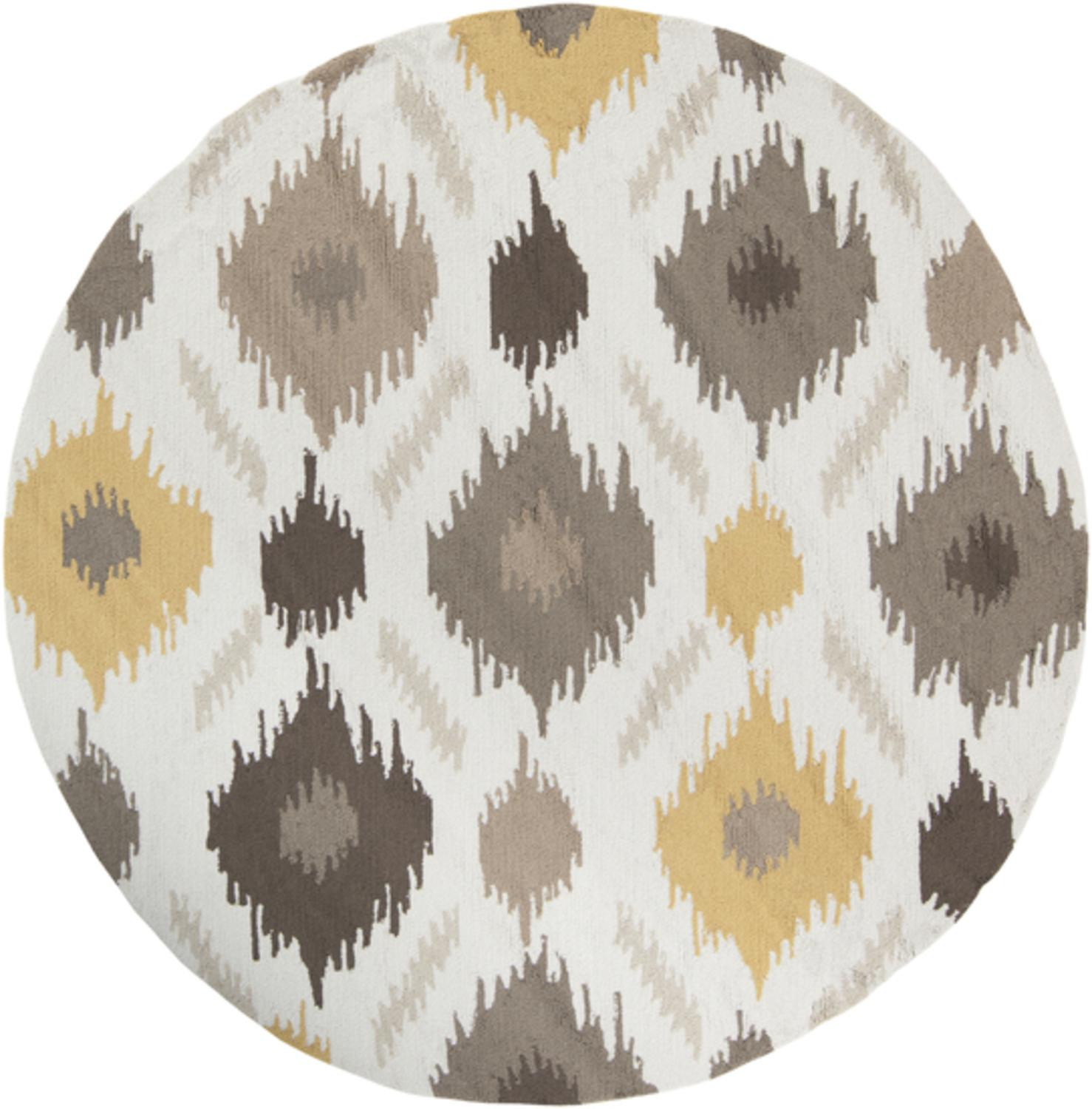 6' Amarillo Gold, Mushroom and Feather Gray Hand Hooked Round Area Throw Rug