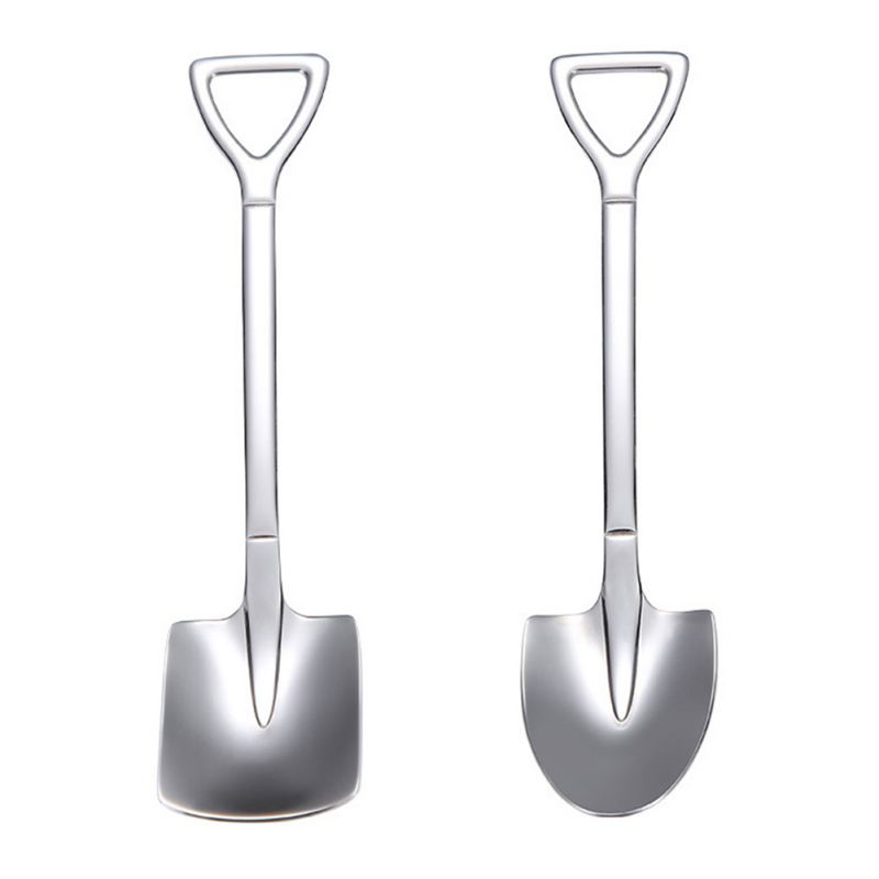 8 Pieces Gold Shovel Shape Spoons Stainless Steel Shovel Shape Coffee Ice Cream Dessert Spoons for Home and Party