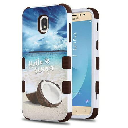 Samsung Galaxy J7 (2018), J737, J7 V 2nd Gen, J7 Refine Phone Case Tuff Hybrid Shockproof Impact Rubber Dual Layer Hard Soft Protective Hard Case Cover Coco Beach Phone Case