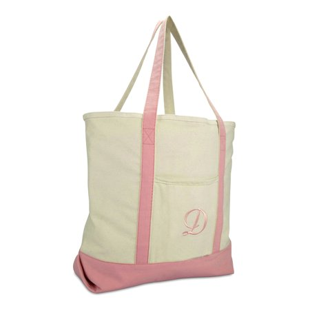 DALIX Personalized Shopping Tote Bag Monogram Pink Ballent Zippered Letter D