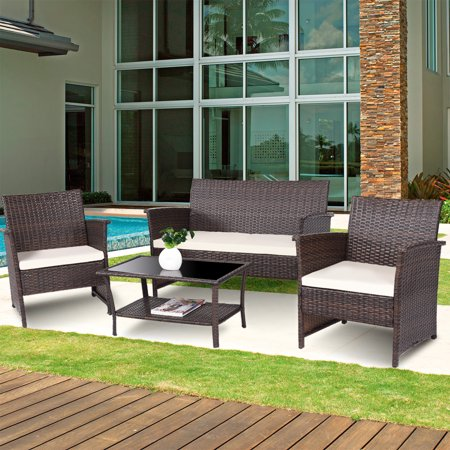 Costway 4 PCS Outdoor Patio Rattan Furniture Set Wicker Sofa Table Shelf Cushion ()