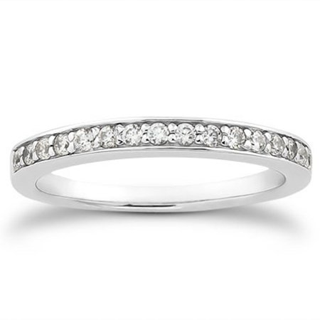 14K White Gold Pave Diamond Wedding Ring Band Set 1/2 Around Size - 5