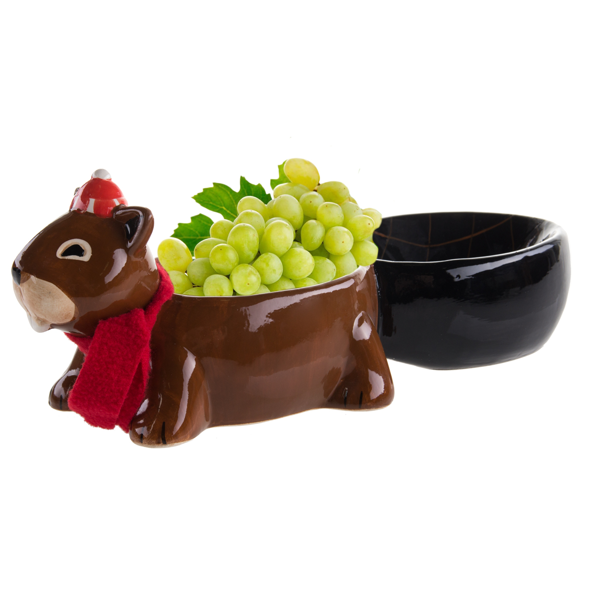 Ceramic Busy Beaver Dish Appetizer Serving Bowl 2-Compartments Party Snack Tray by