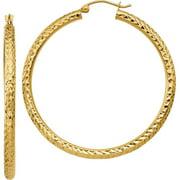 Primal Gold 10 Karat Yellow Gold Diamond-Cut 3mm Round Hoop Earrings