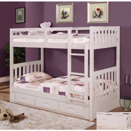 American Furniture Clics Twin Over Wood Bunk Bed With Storage White