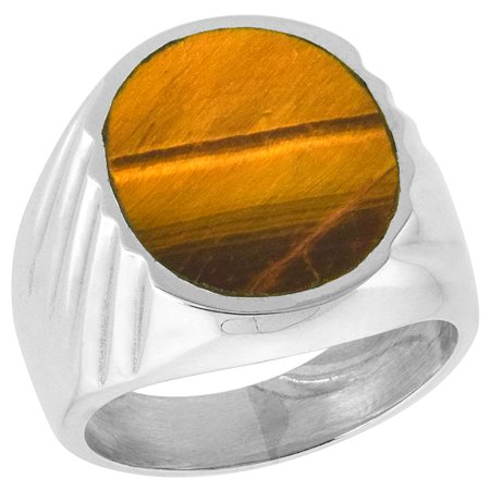 Sterling Silver Tiger Eye Ring for Men Large Oval Flat Solid Back Handmade, sizes 9 - 13