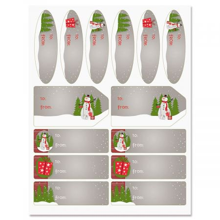 Wood Paneled Snowman Jumbo Rolled Gift Wrap Labels- Set of 42 of Gift Labels in 3 Shapes and - Snowmen Wrapping Paper