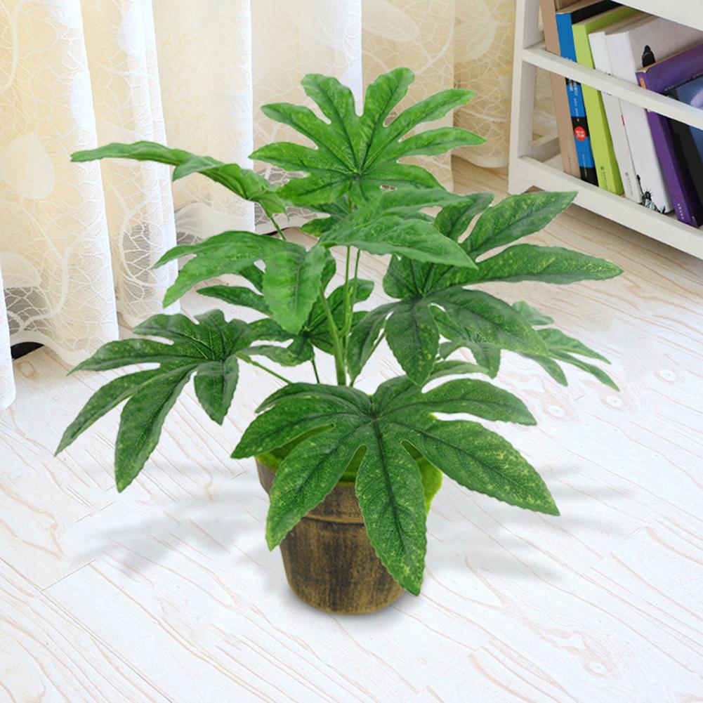 Micelec 9 Leaves/1Pc Artificial Green Plant Fatsia Leaf Simulation Bonsai Home Decor