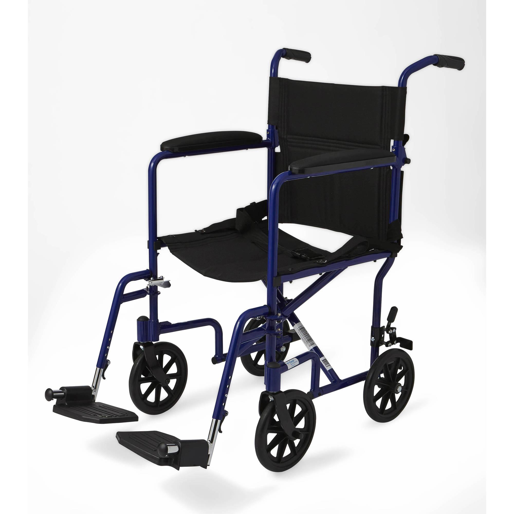 "Medline Aluminum Transport Chair with 8"" Wheels, Blue"