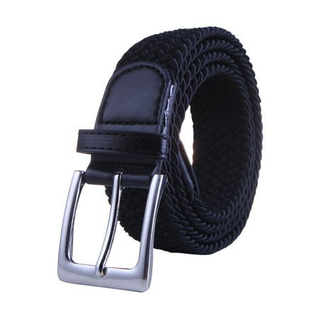 HDE Mens Elastic Braided Web Belt Woven with Leather Accents and Silver Buckle (Black, (Buckle Black Calfskin Belt)