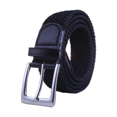 Black Leather Plaque Buckle Belt - HDE Mens Elastic Braided Web Belt Woven with Leather Accents and Silver Buckle (Black, Medium)