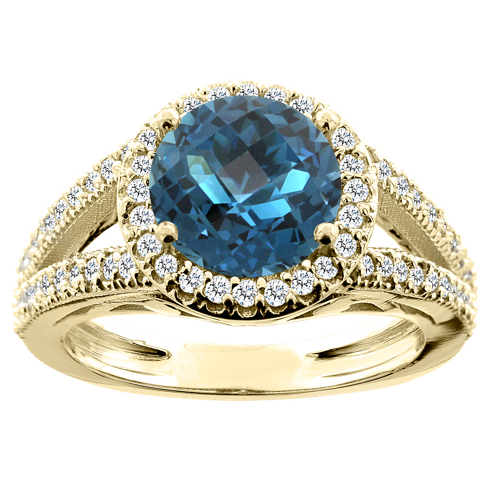 10K Yellow Gold Natural London Blue Topaz Ring Round 8mm Diamond Accent, size 5.5 by Gabriella Gold