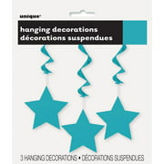 Star Hanging Decorations, 26 in, Teal, 3ct