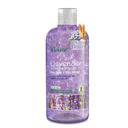 BioFinest Kustie Lavender Flower Petals Shower and Bath Gel, Handpicked, Essential Oil, Deep Sleep and Silky Smooth for All Skin, 12.8 oz.