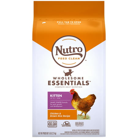 Nutro Wholesome Essentials Natural Dry Cat Food, Kitten Chicken and Brown Rice Recipe, 5 lb. (Best Natural Kitten Food)