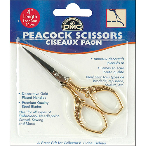 "DMC Peacock Embroidery Scissors, 4"", Gold Plated"