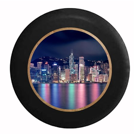 City on the Water Neon Lights Reflections Jeep RV Camper Spare Tire Cover Black 27.5 in