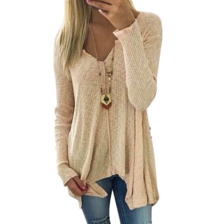 - Fashion Womens Plus Size V-neck Pullover Ladies Tops Winter Knit Sweater Jumper Asymmetrical Hem Shirt S-XXXXXL