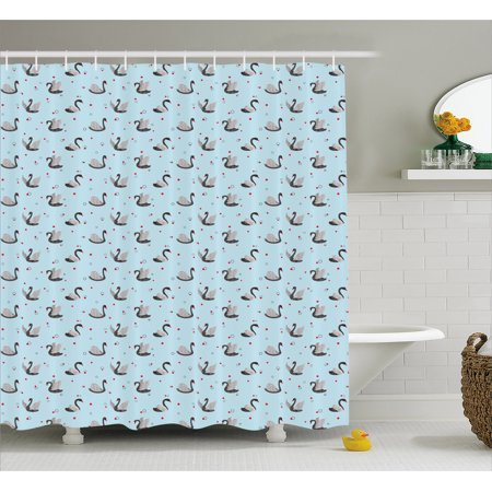 Swamp Backdrop (Swan Shower Curtain, Dark Color Swans on Pale Blue Backdrop with Little Black Circles and Red Dots, Fabric Bathroom Set with Hooks, 69W X 70L Inches, Grey Pale Blue Red,)