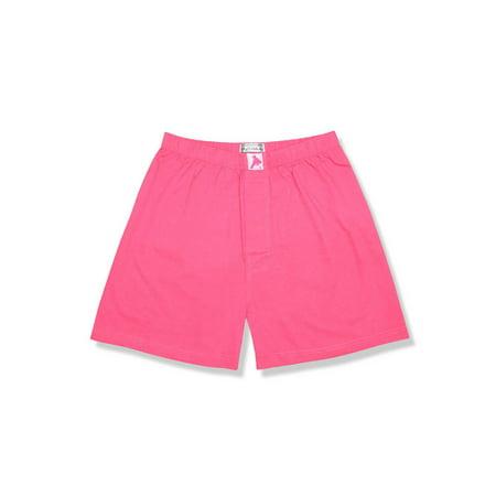 Biagio Mens Solid HOT PINK FUCHSIA Color BOXER 100% Knit Cotton Shorts Cotton Boxer Knit Shorts