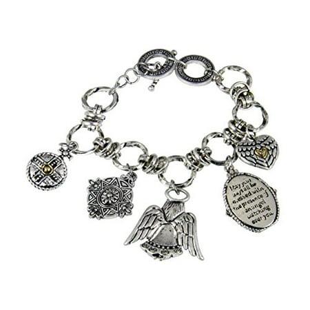 Stunning Chain Link Christian Charm Bracelet Angel Blessing Special Gift