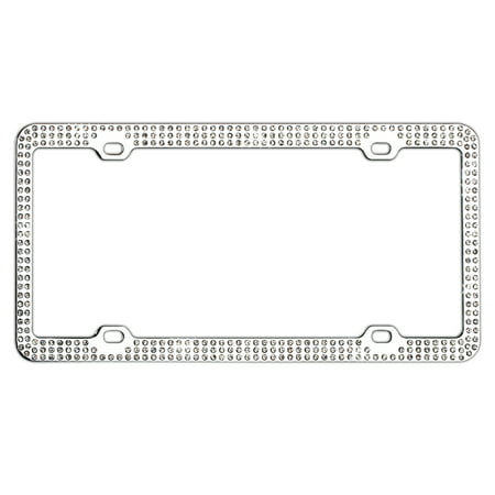 Auto Drive White Crystals License Plate Frame - Walmart.com