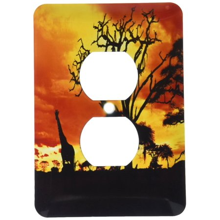 3dRose African Giraffe on African Plains at Sunset, Animal Safari Africa, 2 Plug Outlet Cover
