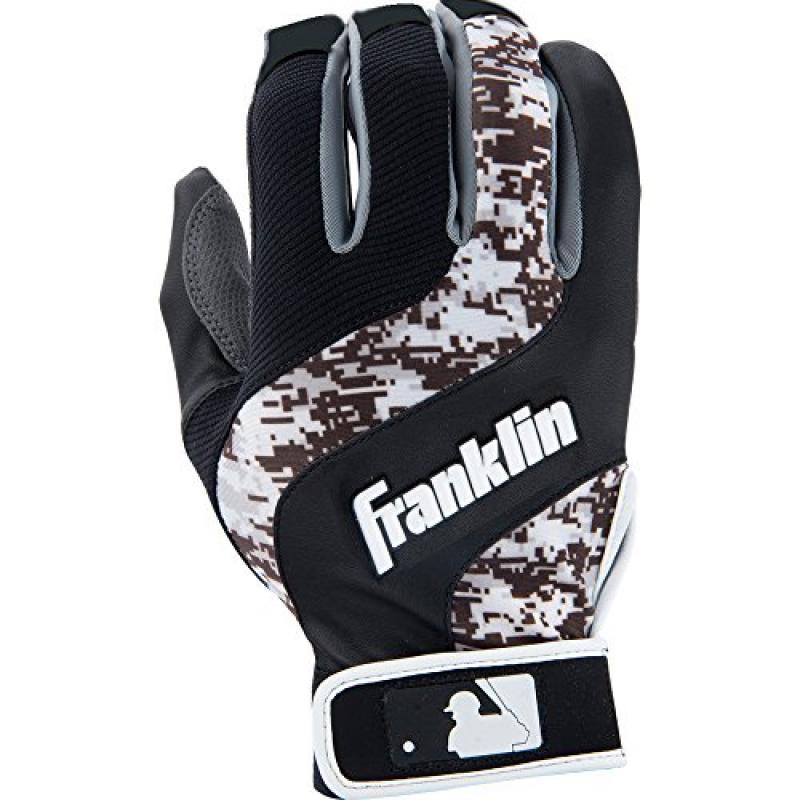 Franklin Sports MLB Adult Shok-Wave Batting Gloves White Black Small by Franklin Sports
