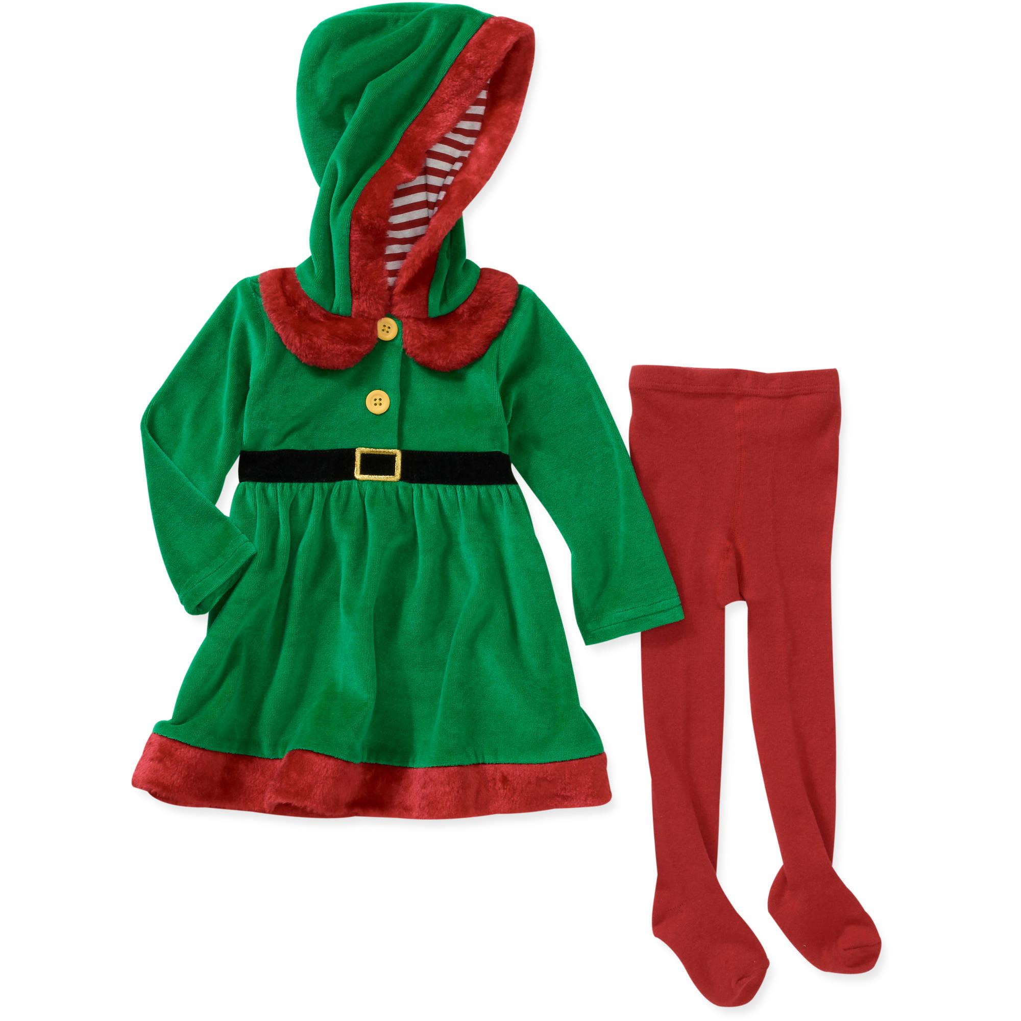 Baby Girls' 2-Piece Elf Velour Hoodie and Tights Set