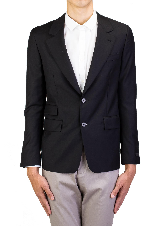 Prada Men's Virgin Wool Two-Button Sport Coat Jacket Black by Prada