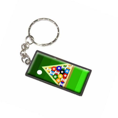 Billiard Balls And Triangle Pool Table Keychain Key Chain Ring - Pool table key