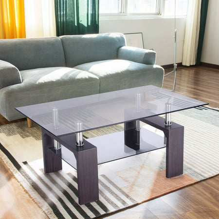Costway rectangular glass coffee table wood w shelf for 2 shelf glass coffee table